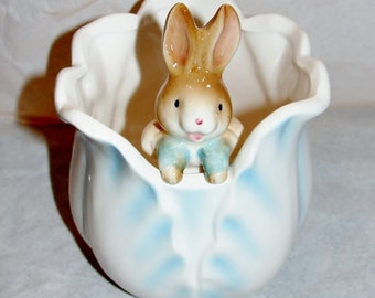 Porcelain Bunny Dish Cabbage Planter Collectible Peter the Rabbit