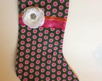 Stocking, Christmas stocking, pink and green, floral, polka dot