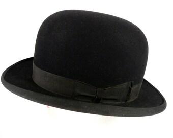 Vintage Edwardian Steampunk 1900 Grand Prize Paris John B Stetson Bowler Hat 7 1/4 - 22 5/8