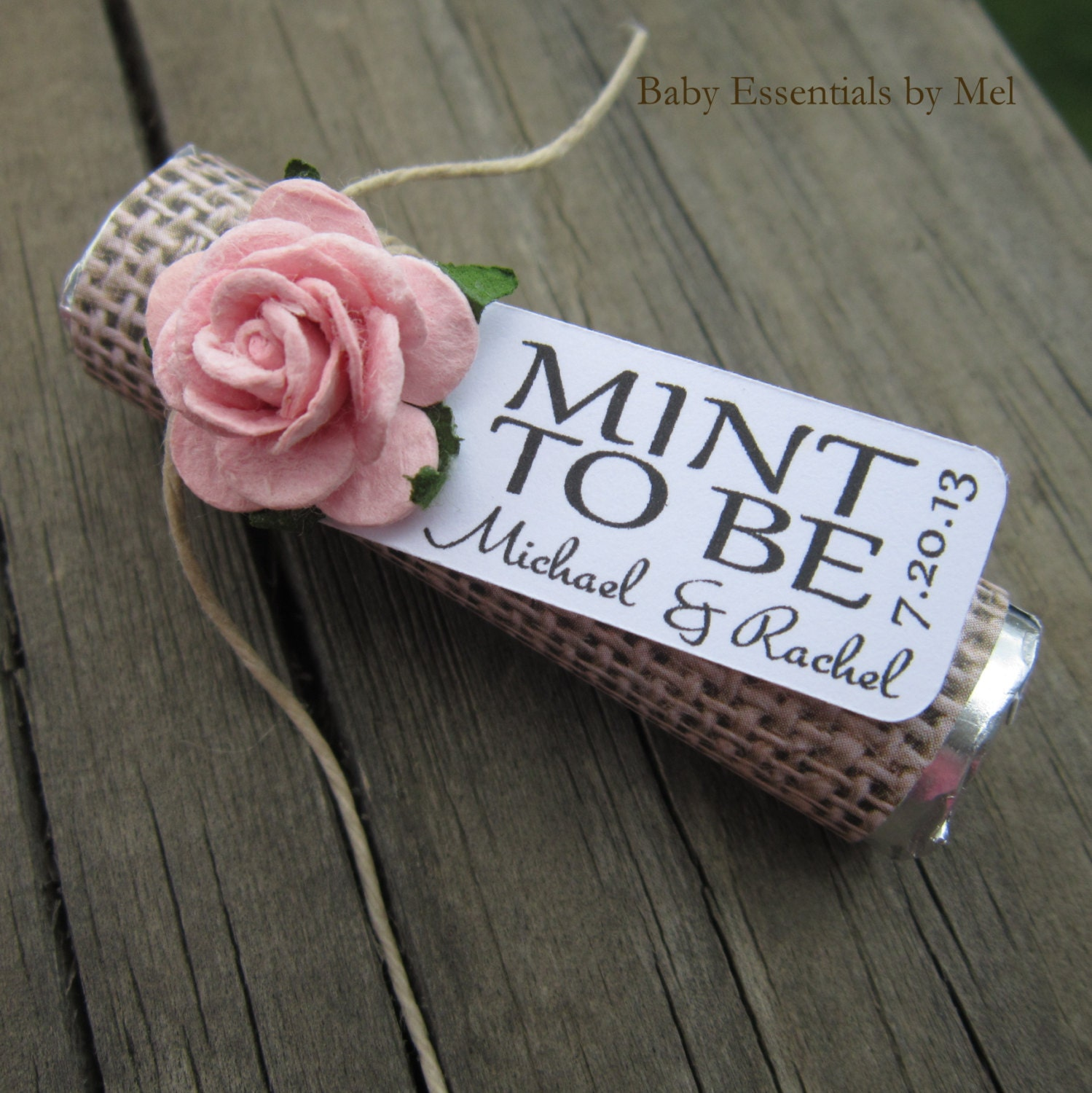 Wedding Personalized Favors bridal shower tags etsy mint wedding favors set of 24 rolls to be with personalized tag burlap pale pink rose rustic shabby chic