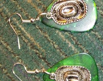 Guitar pic earrings. Cowboy hat earrings. Green earrings. Dangle earrings.
