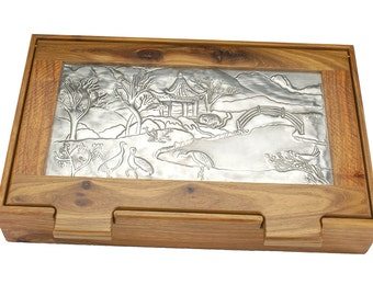 Desk Tidy Jewellery box Trinket Box Storage Box Kiaat Solid Wood Japanese Landscape