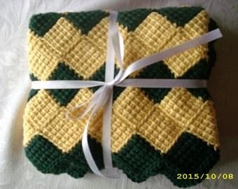 Hand-Crocheted Baby Blanket - Dark Green and Yellow