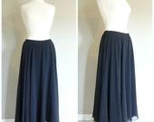 Vintage BLACK CHIFFON SKIRT/Maxi Skirt/size Small-Medium