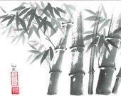 """Original Art """"Bamboo forest """" - in Japanese style - sumi-e drawing with wash ink - Wall decor - bamboo brash on rice paper"""