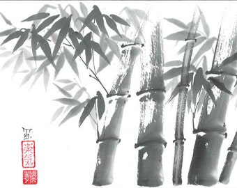 "Original Art ""Bamboo forest "" - Japanese sumi-e - wash painting - Wall decor - dormitory decor - gift for her- black and white - minimalist"