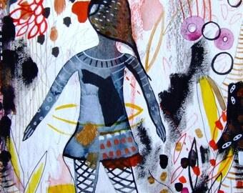 Silhouette Art Painting Watercolor Contemporary Art - Home Decor Black Yellow - Woman Wall Art - Woman Fine Art - Shadow Woman Art Landscape