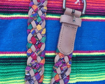 vintage leather braided serape belt | small medium large one size | the baja belt