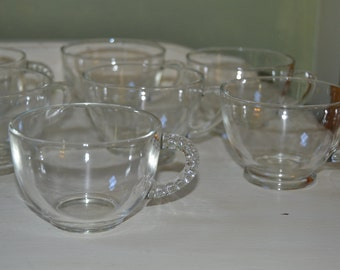 9 Vintage Assorted Clear Cut Glass Punch Cups
