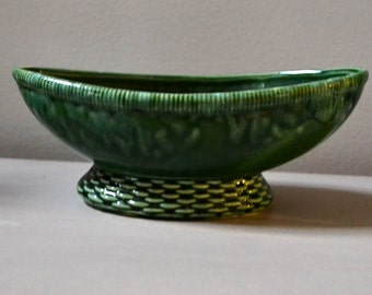 Vintage Green Pottery Planter USA Mid century Home and Wedding Decor
