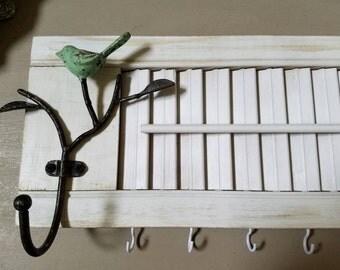 Vintage White Shutter Jewelry Holder Bird Hook