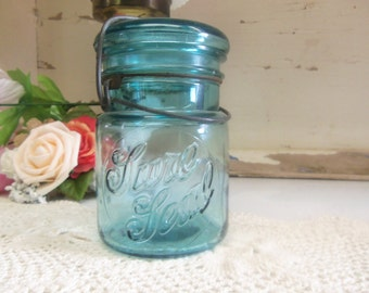 Vintage Aqua Pint Sized Sure Seal Jar with Wire Bail and Aqua Glass Lid  B177