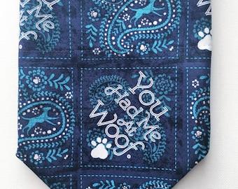 Dog bandana over the collar blue bandana/  had you at woof/ dog collar/ bandana/ collar bandana/ modern dog bandana/ dog/ bandanas/ collar