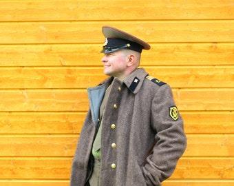 Mens Halloween clothing Mens Halloween costume Soviet military uniform and woolen coat 100% original 1970s Russian SIZE 50