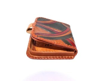 Small leather wallet 1973 Vintage wallet Tooled leather wallet Genuine leather wallet Estonia Estonian Tiny unisex wallet