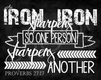 Scripture art Proverbs 27:17 ~ Chalkboard Style
