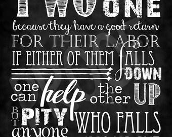 Scripture Art - Ecclesiastes 4:9-10 ~ Chalkboard Style
