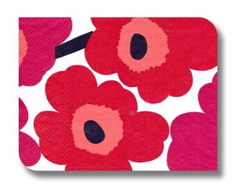 Marimekko Unikko bright red and pink floral paper napkin for decoupage. Mixed media art supplies. Designer paper napkin. No 1161