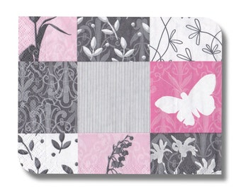 Paper napkin for decoupage, mixed media, collage, scrapbooking x 1. Pink Butterflies. No 1052