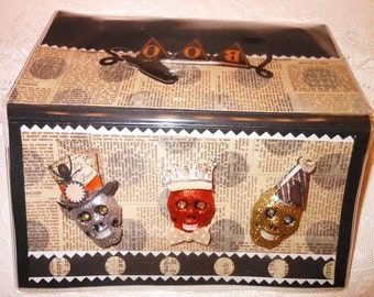 Glitter Skulls Party Hats Halloween Scrapbooked Checkbook Cover - Vinyl Holder