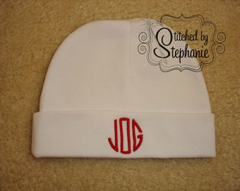 Custom personalized monogrammed red on white newborn baby boy hat
