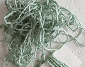 Hand Dyed Silk Ribbon - Green Silk Cord - Jewelry string - embroidery - Sea Foam - 2m