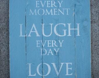 Live Laugh Lve Wooden Pallet Sign- Blue