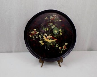 Vintage Round Metal Tole Tray with Yellow Bird - Shabby Chic Cottage Farmhouse Decor - Tableware Serving Decorative Wall Hanging Colonial
