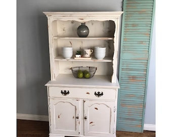 White shabby chic painted farmhouse hutch shelf cabinet