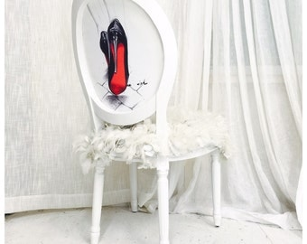 White Glossy French Louis XVI Accent Side Chair upholstered in Red and Black Shoes and White Leather and Fur Feather Fabric