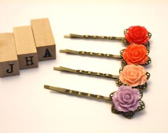 Vintage inspired resin Rose bobby pin/hair pin