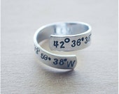 Coordinates Ring - Best Friend Long Distance - Valentine's Day - Hand Stamped Latitude & Longitude Personalized Ring - Initials Ring