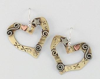 Heart Earrings, Gold Heart Earrings, Gold Earrings, Gold and Silver Heart Earrings, Valentine Hearts, Valentines Day Jewelry, RP0652ER