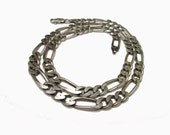 Sterling Figaro Link Necklace Italy 22 inches
