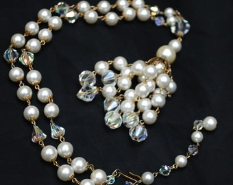 Crystal Pearl Tassel Necklace Aurora borealis white pearl and gold mid century Bride Wedding