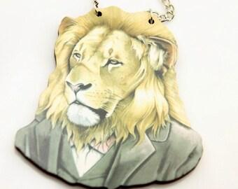 Lion Necklace, wooden necklace,