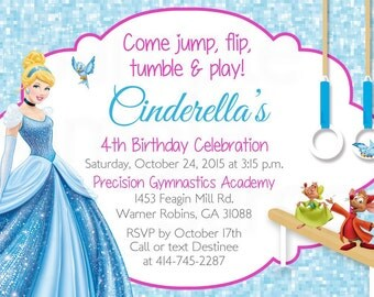 Cinderella Inspired Gymnastics or Trampoline Birthday Party Printable Invitation