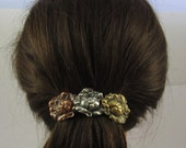 ROSES French Barrette 80MM Sterling Silver-Copper-Brass Ox-Satin Finish