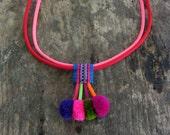 Pom Pom Choker Necklace Silk Fabric Choker Colorful Necklace Handmade Pom Pom Choker Necklace with Colorful Silk Cord Assorted Colors