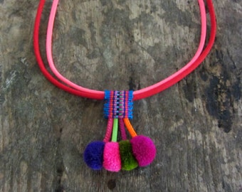 Pom Pom Choker Necklace Silk Fabric Choker Colorful Necklace Handmade Pom Pom Choker Necklace with Colorful Silk Cord Assorted Colors