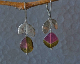 Watermelon Tourmaline Dangle Earrings, Tourmaline Slices with Silver Leafs, Tourmaline Earrings, October birthstone earrings
