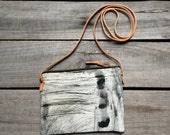 Black & White cross body evening bag, hand painted women's bag, large zippered pouch