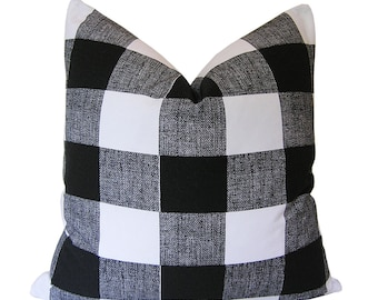 Custom Pillow Cover / Anderson Check by Premier Prints / Black and White / Both Sides / Buffalo Check / Made to Order