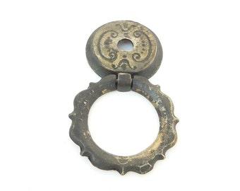 Antique Brass Door Knocker Style Drawer Handle Pulls - Victorian -  Set of 5
