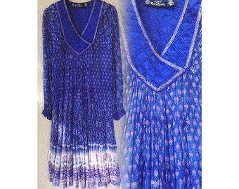 Vintage 1970s Indian sheer floral print bohemian prairie dress