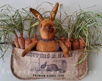 2016 E-PATTERN Primitive Folk Art Early Style Bunny Rabbit Doll with Carrots in Vintage Reproduction Apron