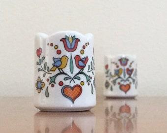 Vintage Porcelain Candle Holders -- Pair