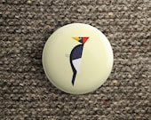 holiday gift button with woodpecker (pinback / magnet / mirror )