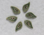 Hand made Pottery leaf shaped buttons - green - set of 6