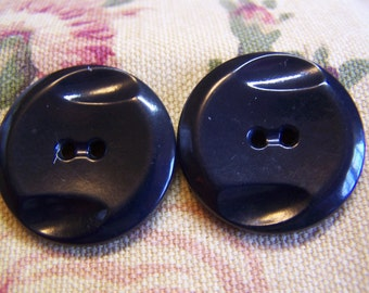 "Vintage Large 1-1/8"" Black Carved Art Deco Buttons, Set of 2 (1436)"